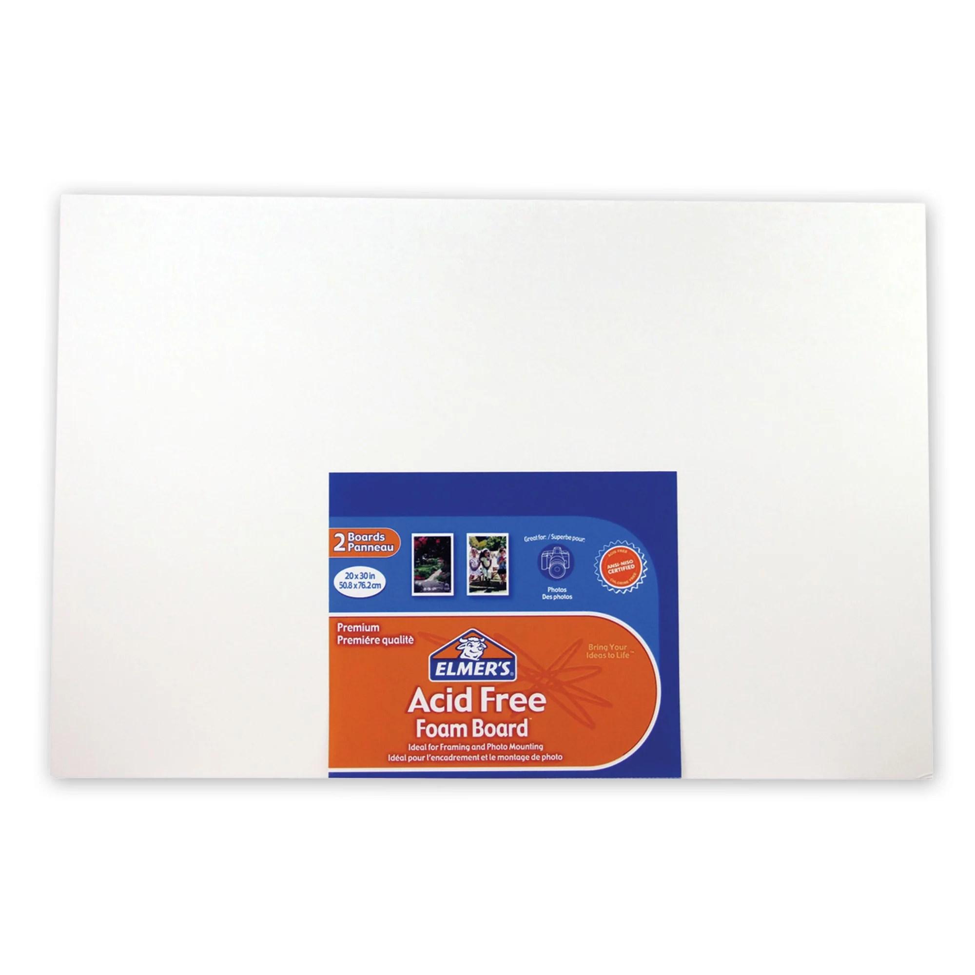 elmer s acid free foam board 20 x 30 x 3 16 2pk