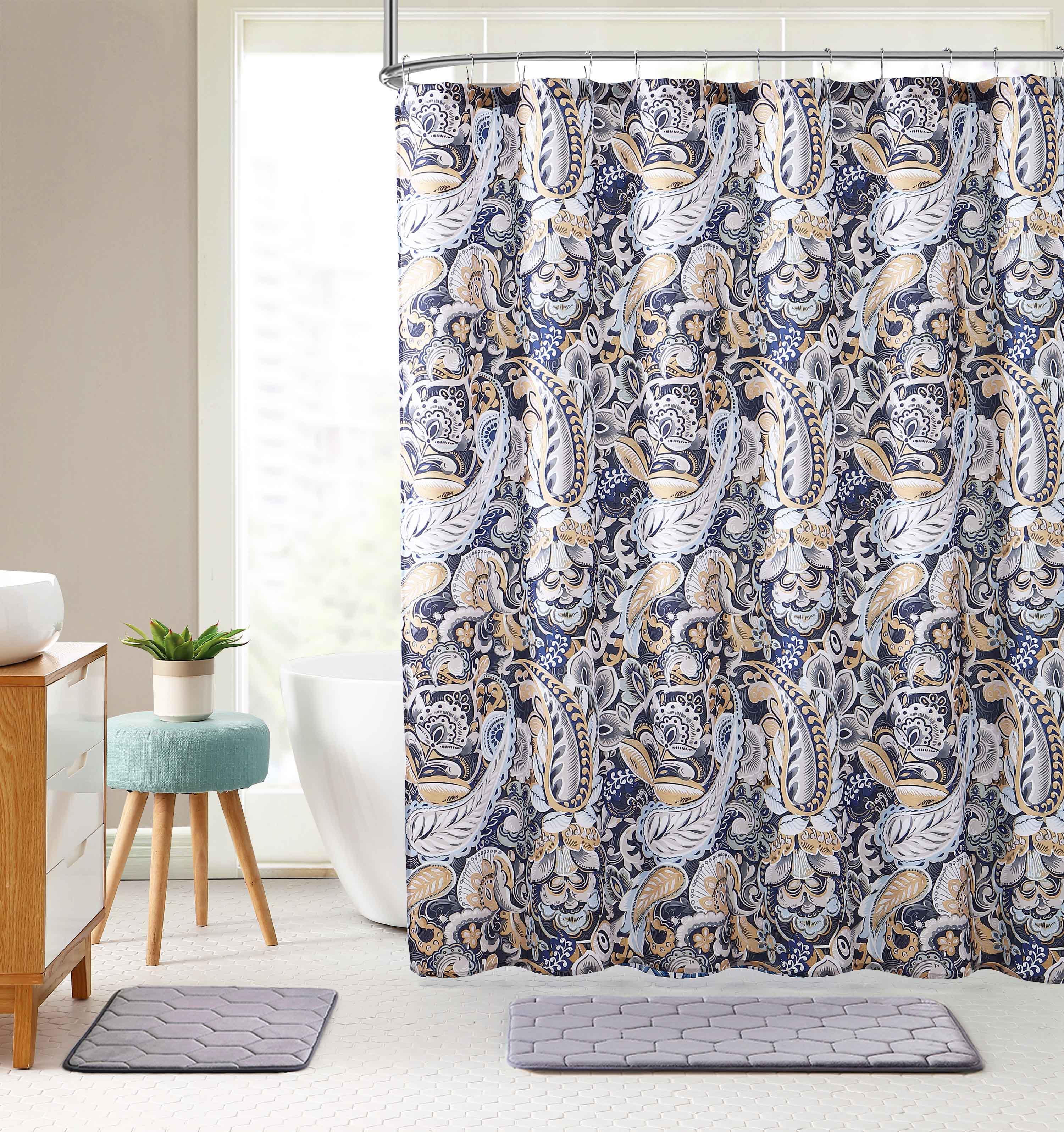 elegant navy blue beige fabric shower curtain large floral paisley print design 72 x 72 inch walmart com