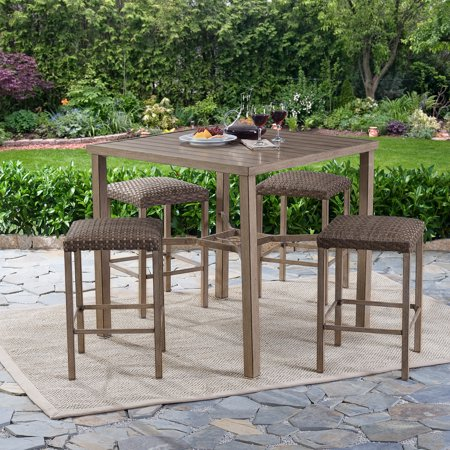 better homes and gardens meads bay outdoor patio dining set wicker bar height