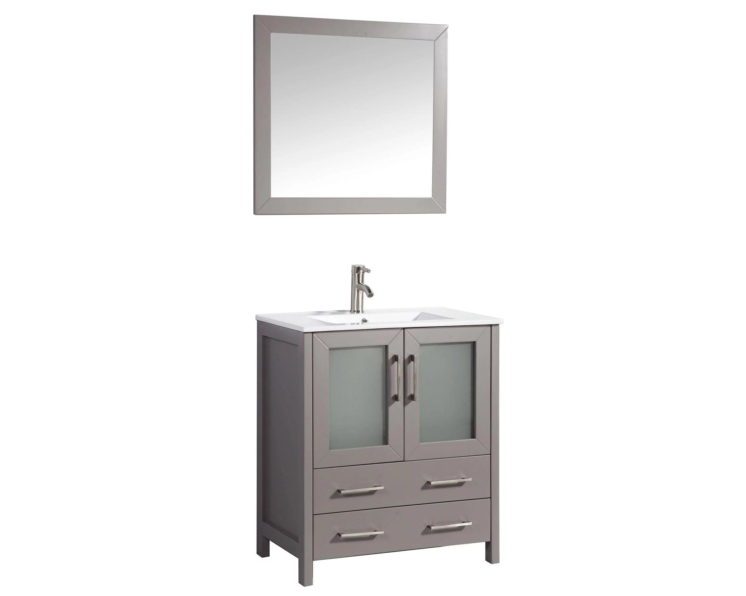 vanity art 30 inch single sink bathroom vanity set with ceramic vanity top