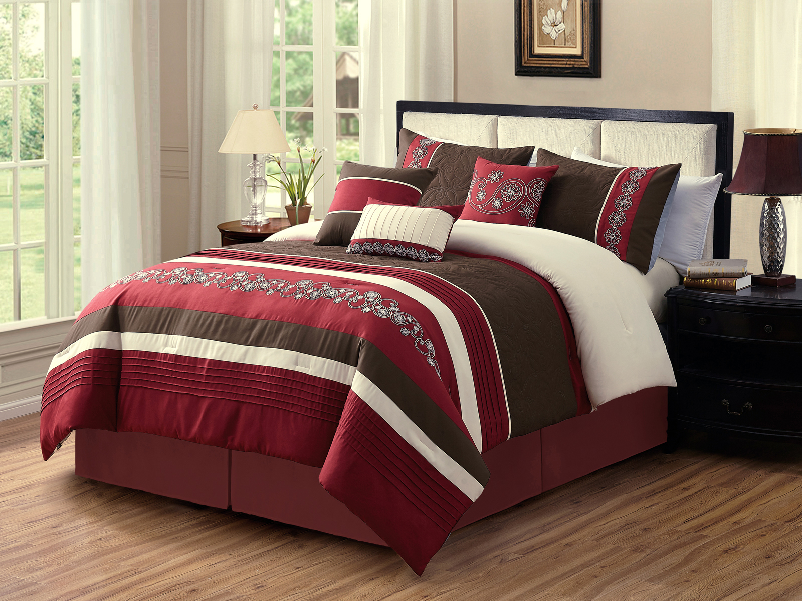 11 pc jools paisley floral embroidery embossed pleated stripe comforter curtain set burgundy brown ivory queen