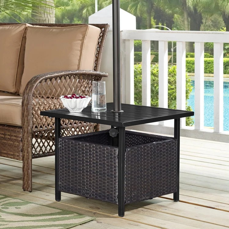 ulax furniture patio pe wicker umbrella side table stand outdoor bistro table with umbrella hole