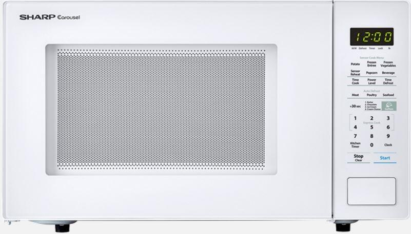 sharp smc1441cw 1 4 cu ft 1000w microwave w 12 75 turntable sensor bezel less design