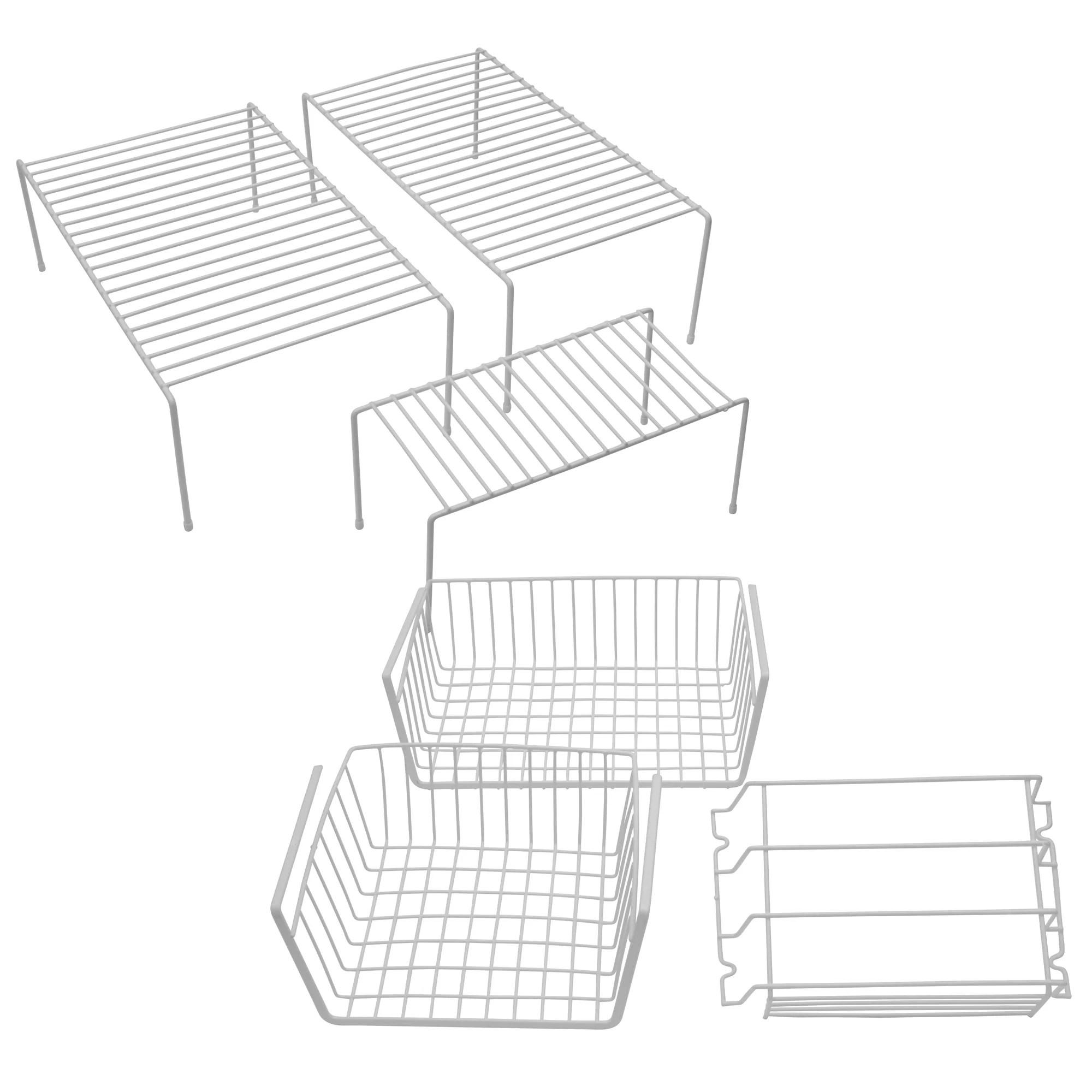 6 Pc Cabinet Drawer Organizer Set White Wire Baskets