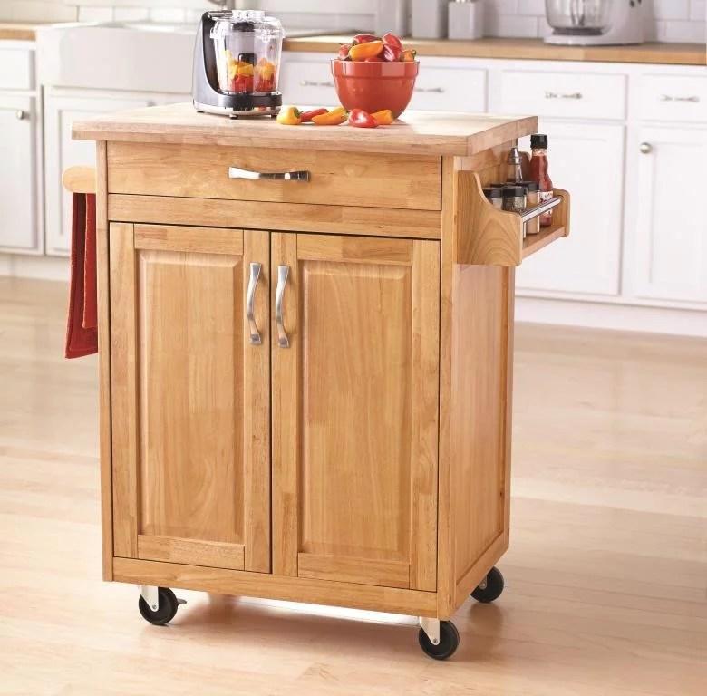 mainstays kitchen cart with drawer spice rack towel bar butcher block top natural walmart com