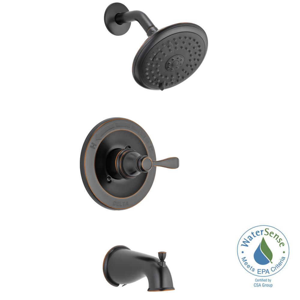 delta porter single handle 3 spray tub and shower faucet in oil rubbed bronze