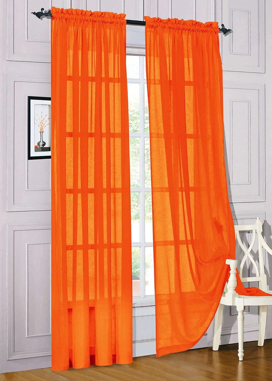 set of 2 sheer voile window curtain panels 84 long orange walmart com