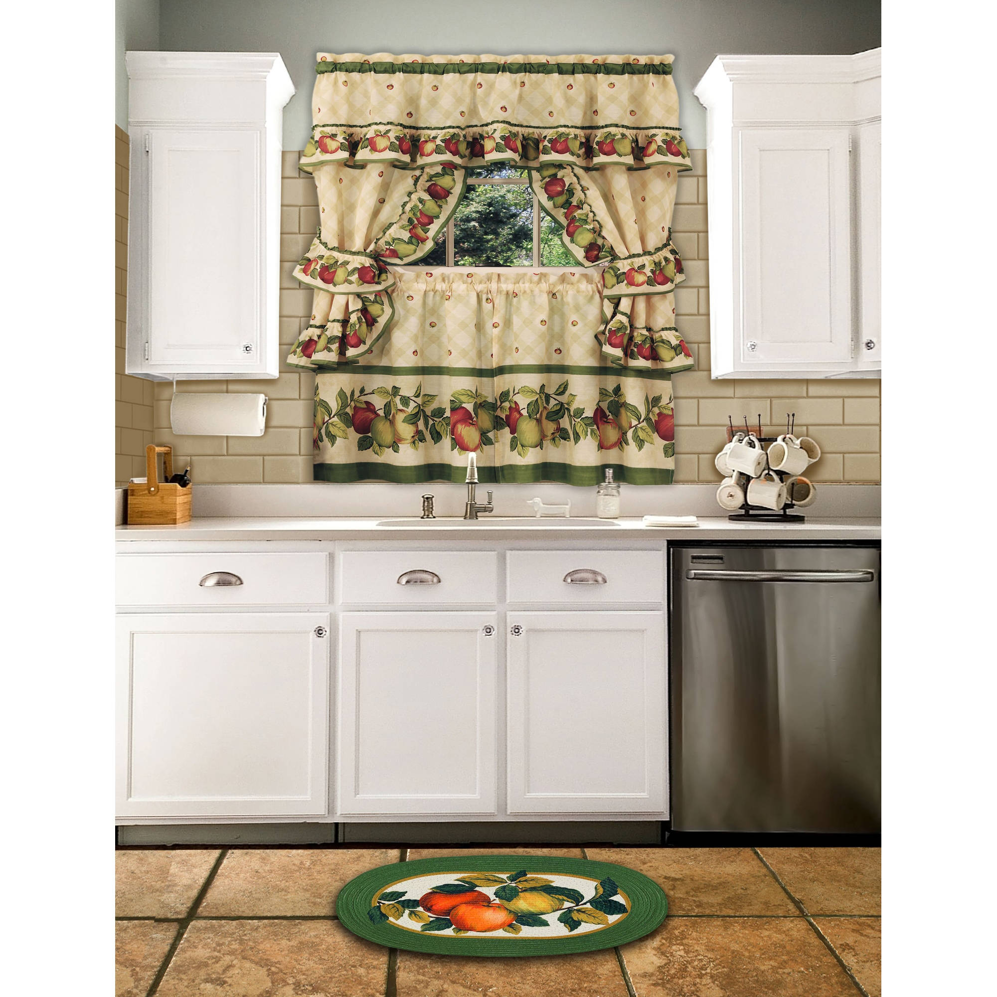 Cottage Kitchen Curtain And Swag Set Apple Orchard Walmart Com Walmart Com