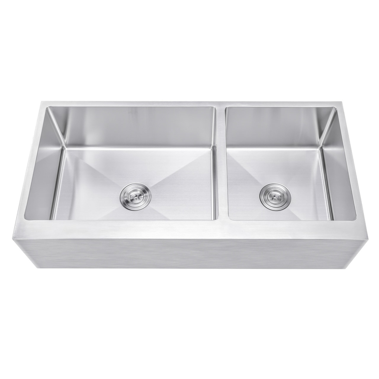 ariel 42 inch 60 40 offset double bowl stainless steel farmhouse sink flat apron front 15mm radius coved corners