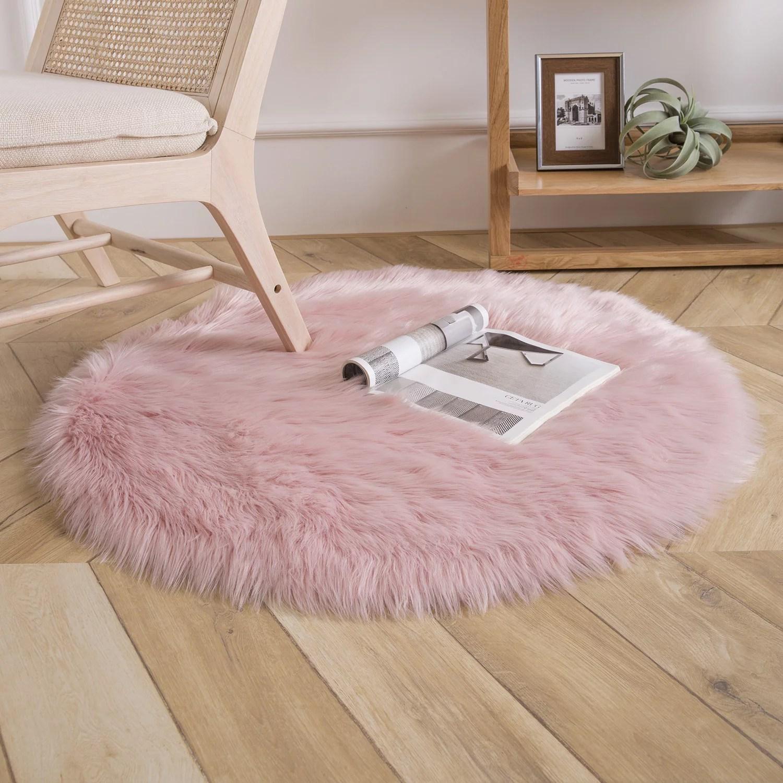 Deluxe Soft Faux Sheepskin Fur Series Decorative Indoor Area Rug 3 X 3 Feet Round Pink 1 Pack Walmart Com Walmart Com