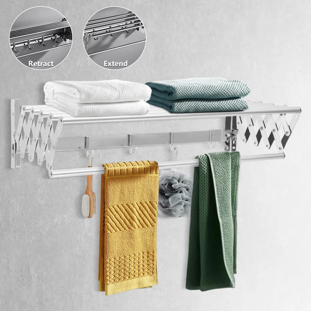 stainless steel wall mounted expandable clothes drying rack towel rack accordion clothes drying rack pull out laundry hanger room home gift