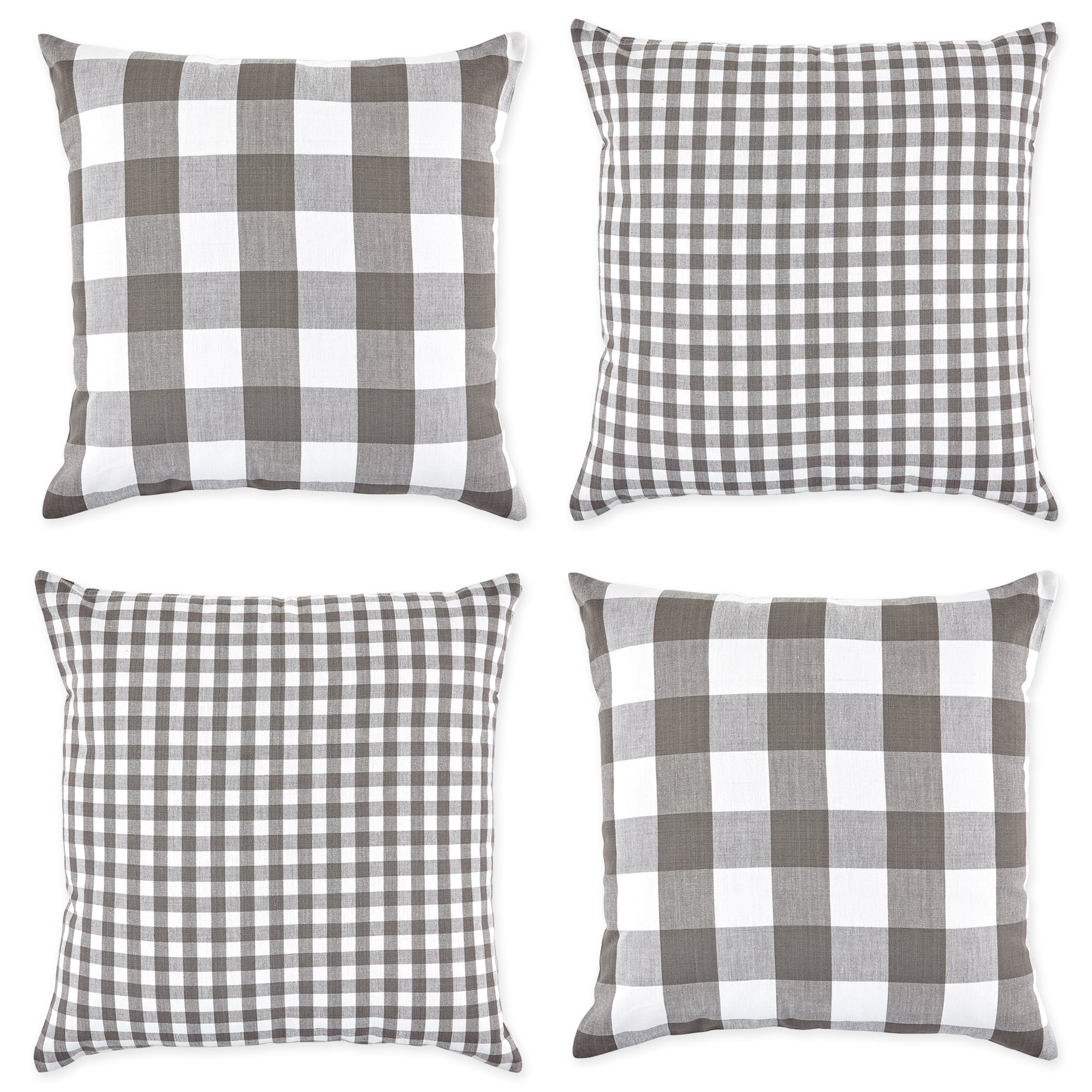 set of 4 gray and white gingham and buffalo check pillow covers 18 walmart com