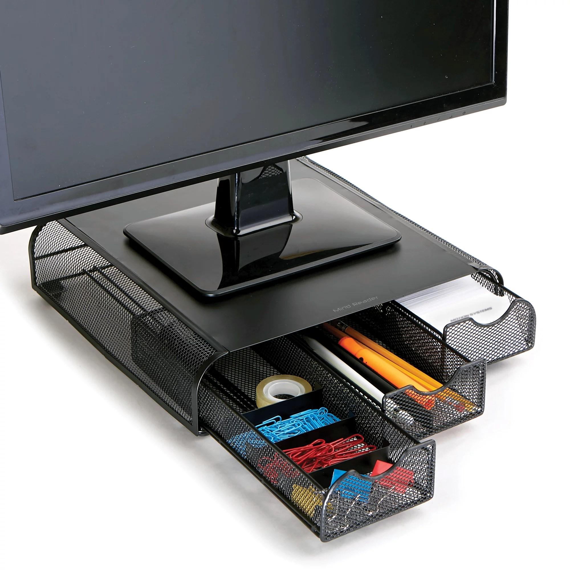 Mind Reader PC, Laptop Imac, Monitor Stand with Three Drawer Desk Organizer, Black Metal Mesh