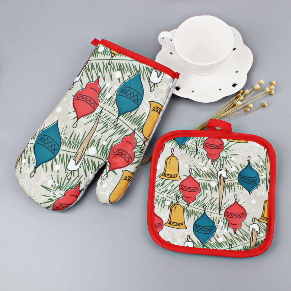 jeobest microwave mitts oven mitts and pot holders set 1 set christmas baking anti hot gloves and pad oven and microwave insulation microwave oven
