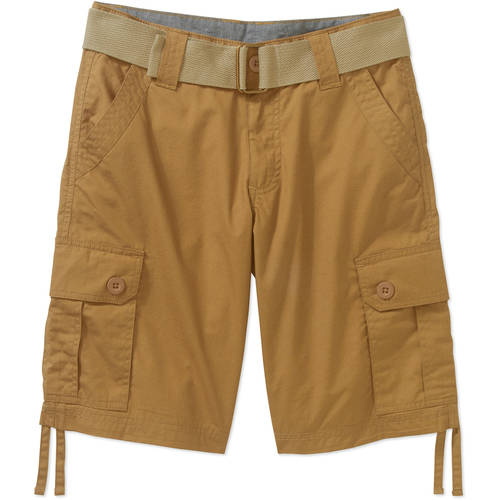 Beverly Hills Polo Club Boys' Belted Fashion Peached Poplin Cargo Shorts