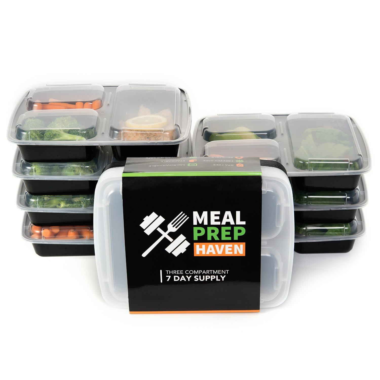 meal prep haven 3 compartment food storage containers with lids reusable microwave and dishwasher safe bento lunch box stackable set of 7