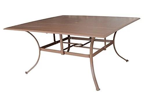panama jack outdoor island breeze slatted aluminum square dining table with umbrella hole 60 inch