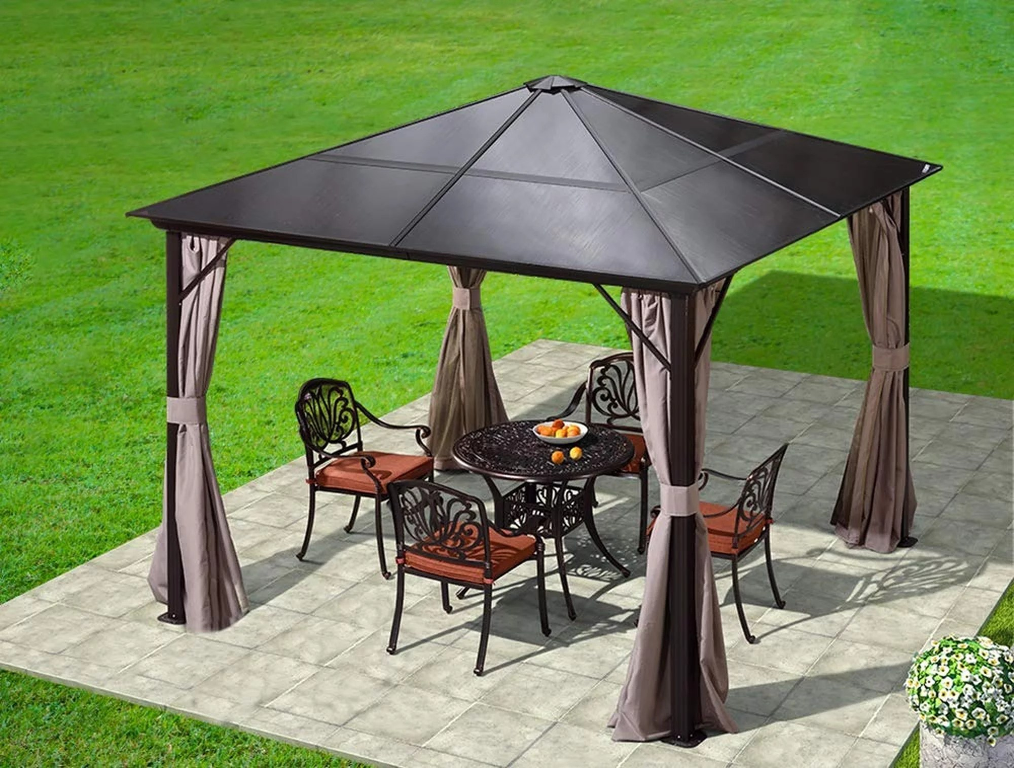erommy 10x10ft outdoor hardtop gazebo canopy curtains aluminum furniture with netting for garden patio lawns parties