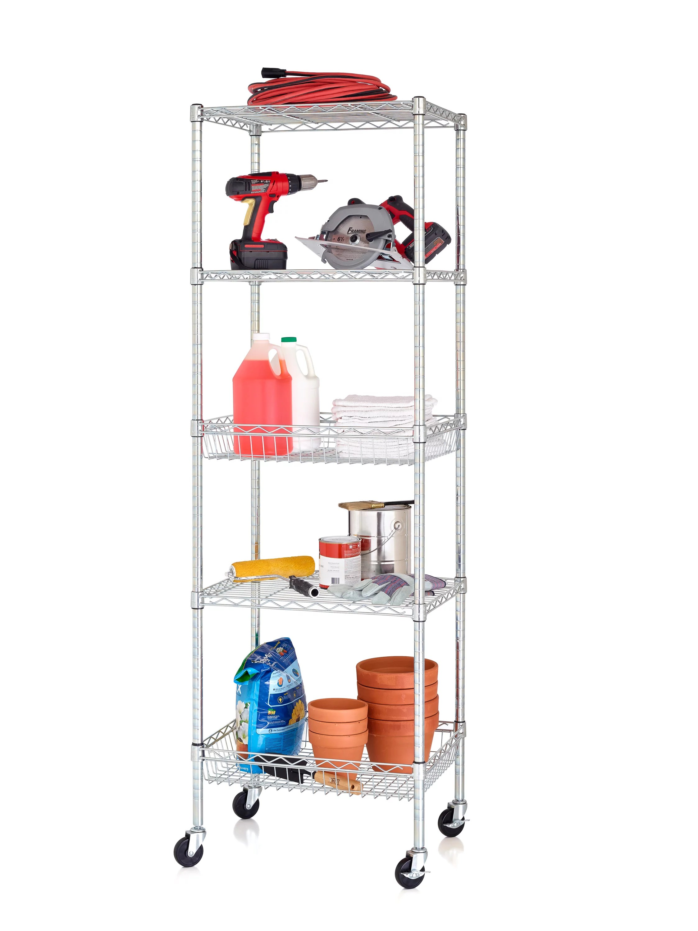 hss 18 dx24 wx75 h 5 tier wire shelving tower rack with 3 casters chrome