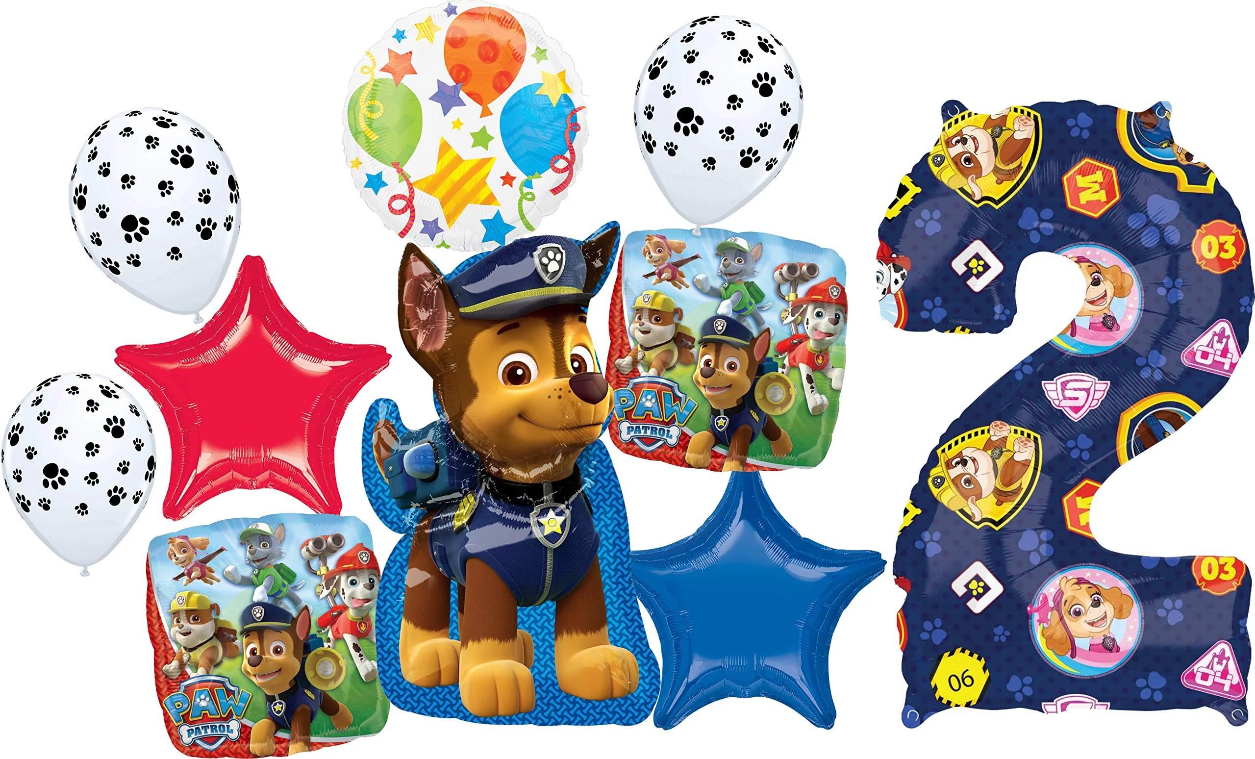 Paw Patrol Party Supplies 2nd Birthday Balloon Bouquet Decorations Walmart Com Walmart Com