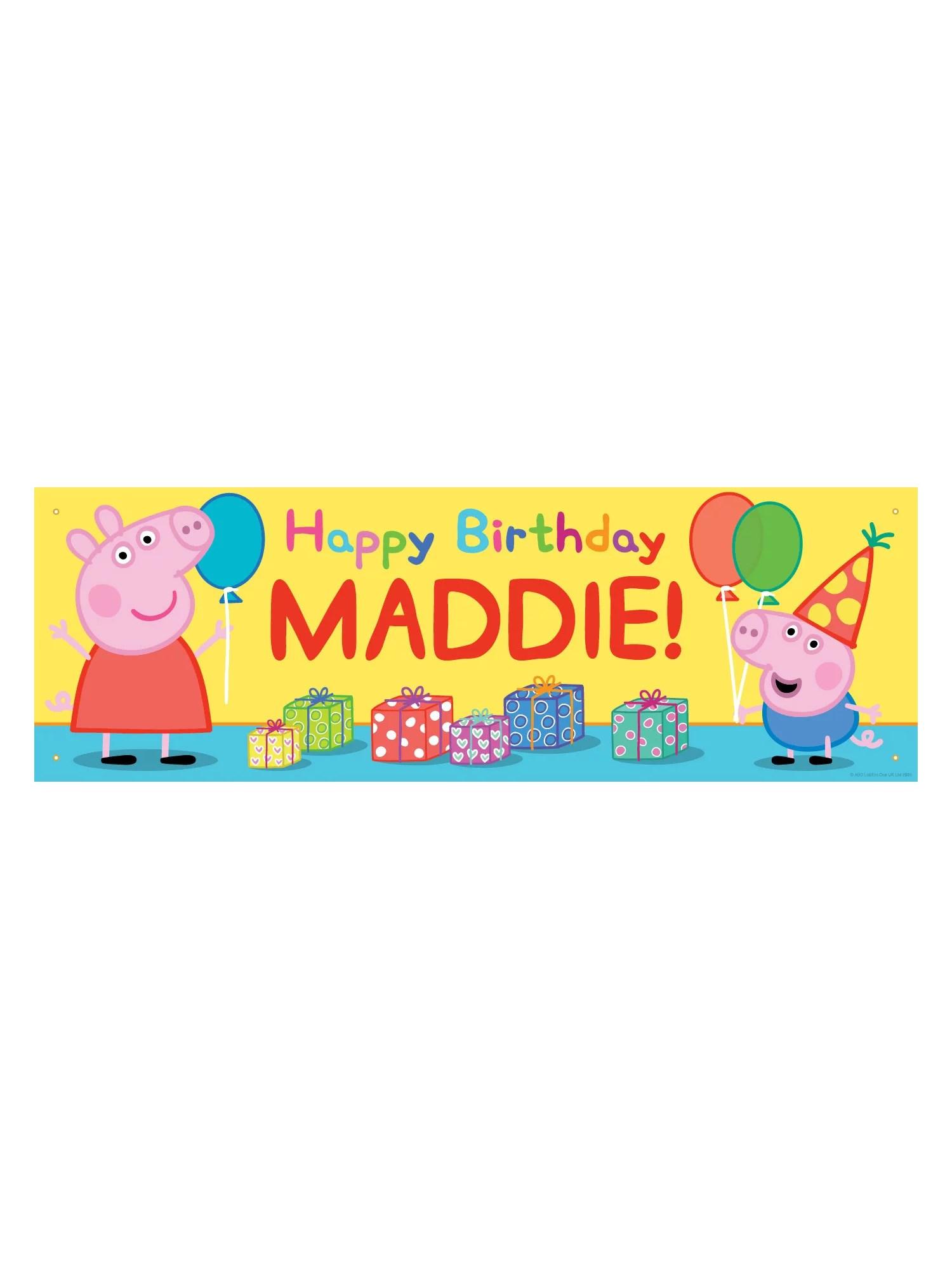 Personalized Peppa Pig Happy Birthday Banner 72 L X 24 W Walmart Com Walmart Com