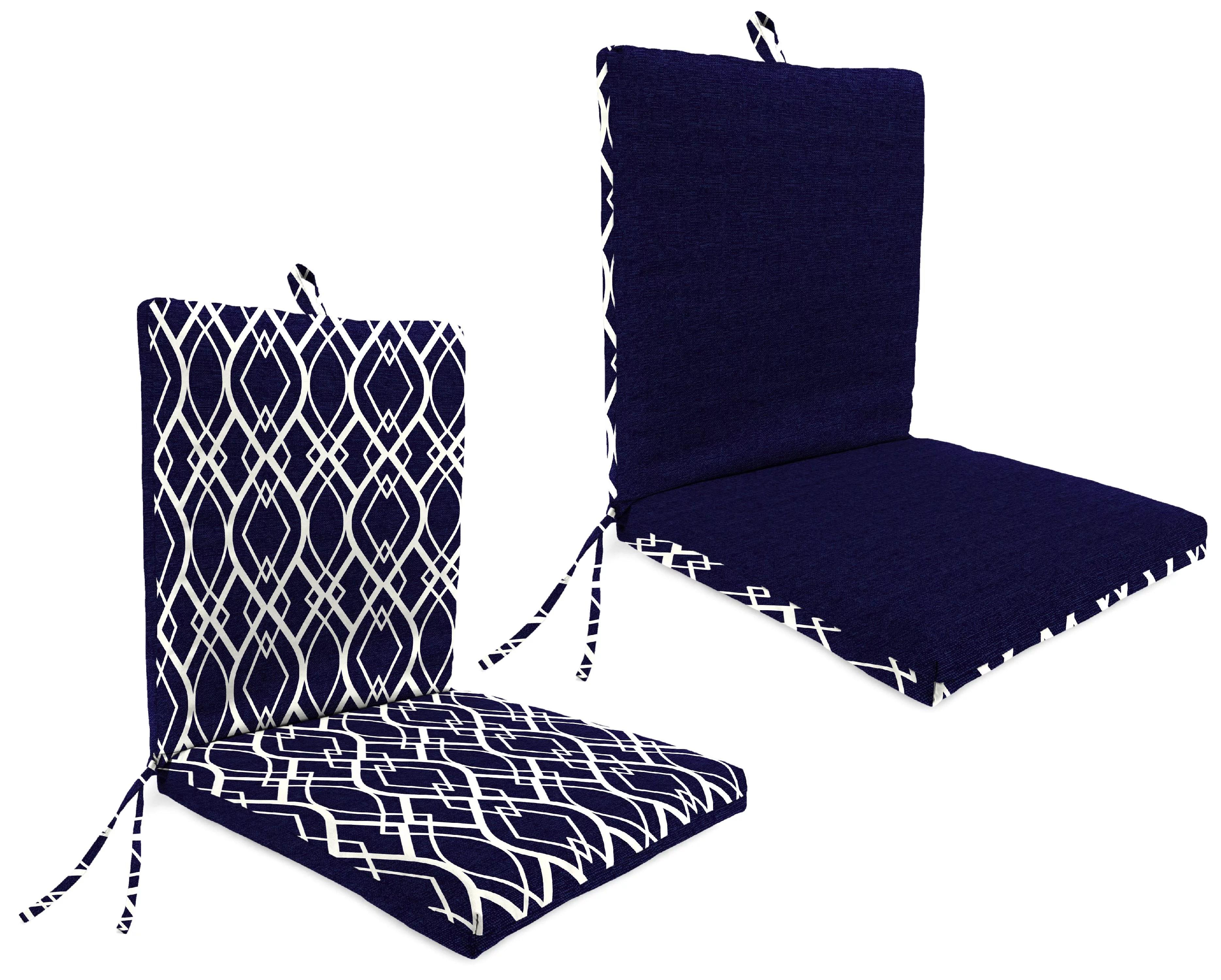 mainstays 1 piece outdoor chair cushion navy trellis