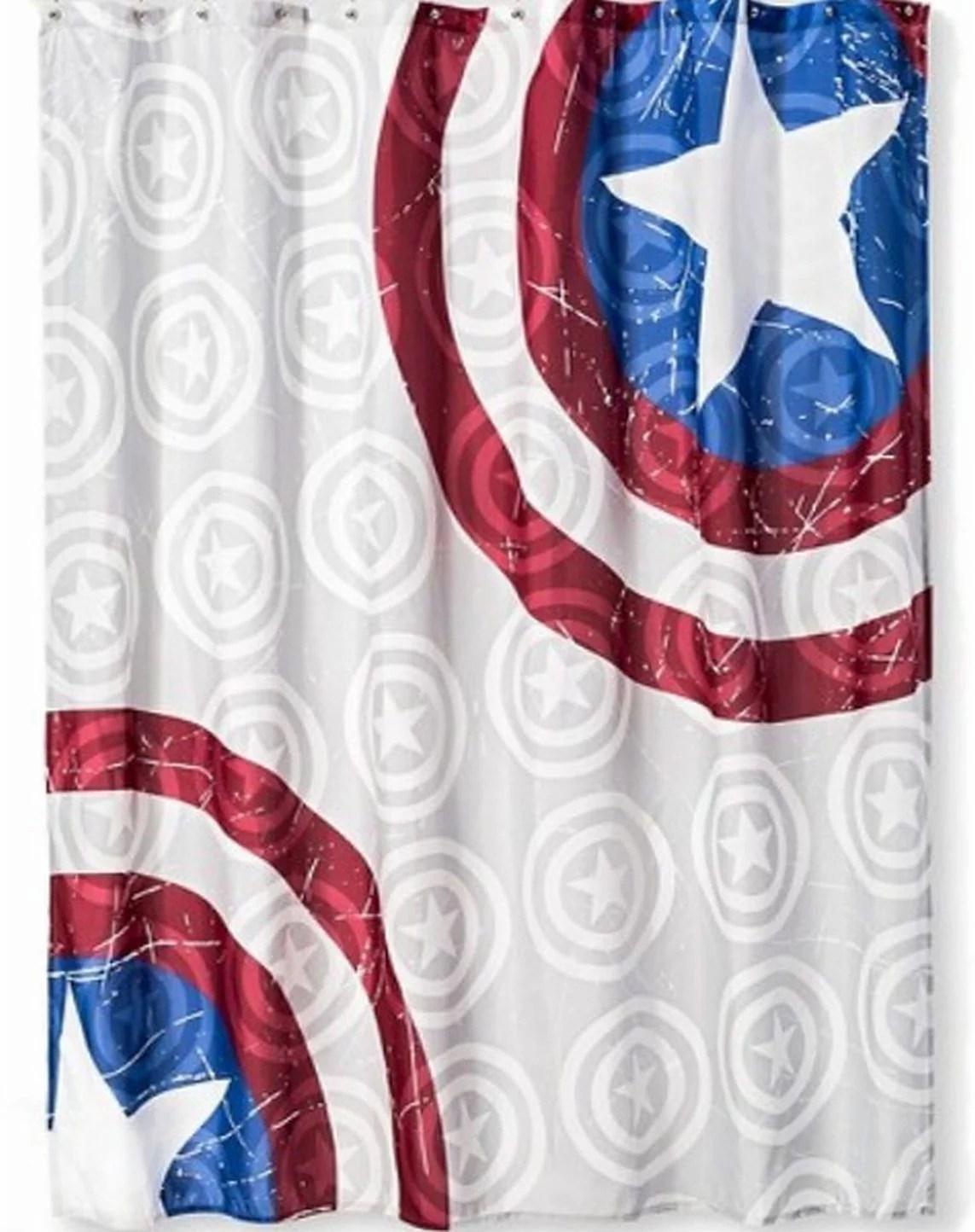 captain america shower curtain kids marvel bath decor