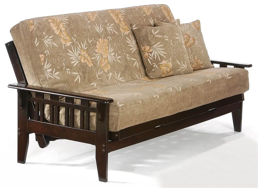 wood futon frame in dark chocolate finish standard loveseat