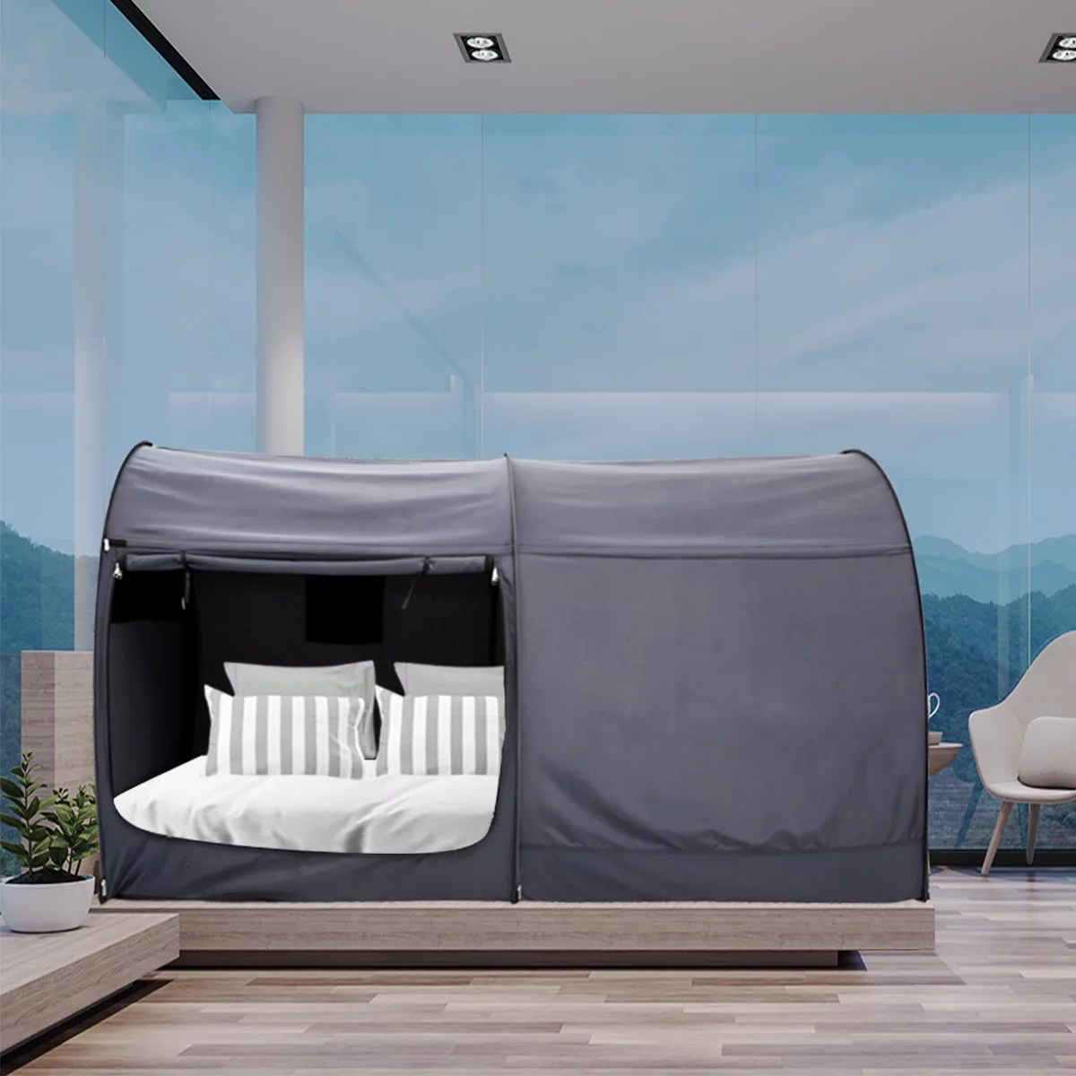 bed canopy tent privacy space bunk twin size indoor curtains gray cottage by alvantor mattress not included walmart com