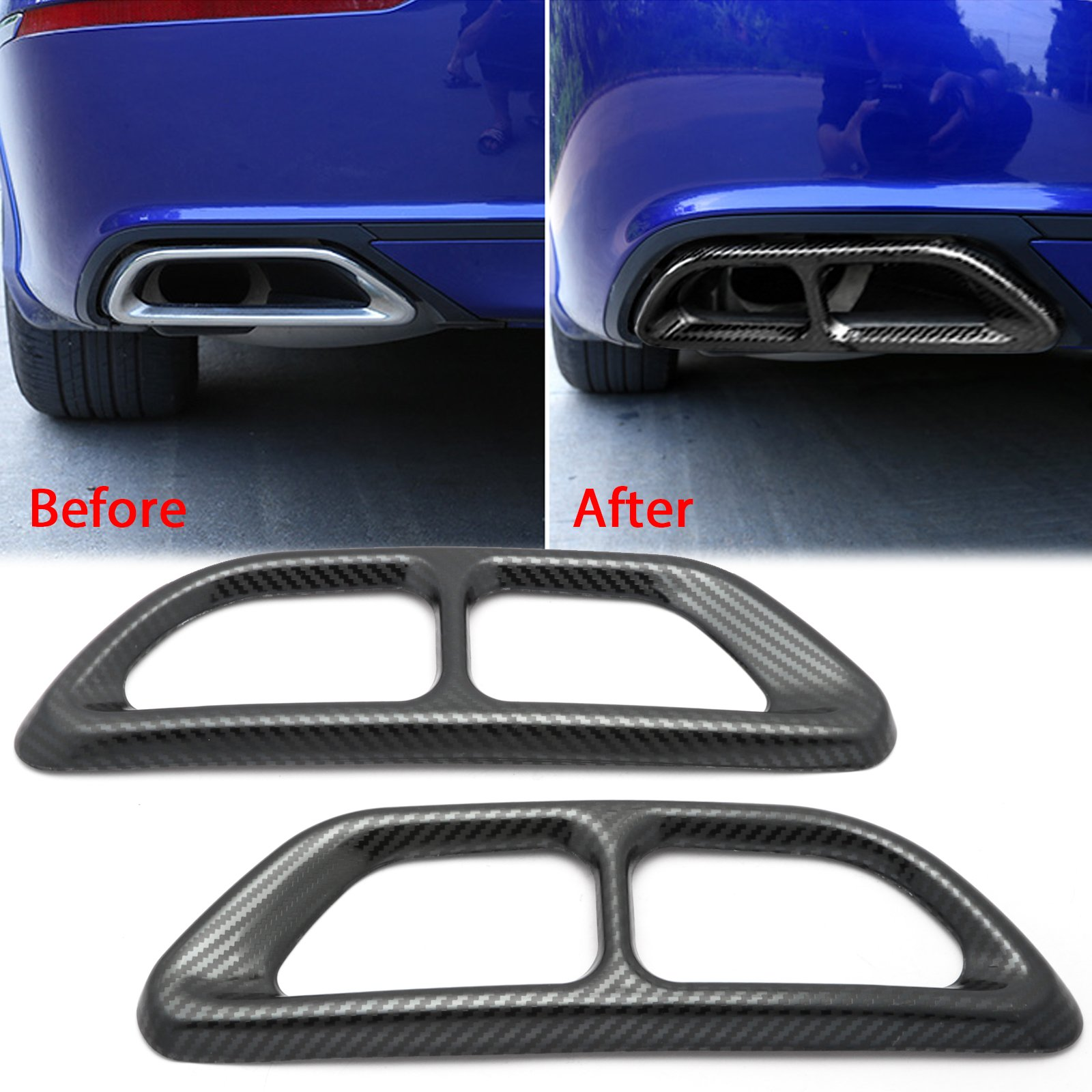 xotic tech carbon fiber texture rear cylinder exhaust pipe cover molding overlay trims for honda accord 10th gen 2018 2019 2020 walmart com