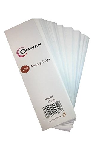 Omwah Professional Salon Facial and Body Wax Non Woven Epilating Strips 100 Count Large 3 x 9 Hair Removal