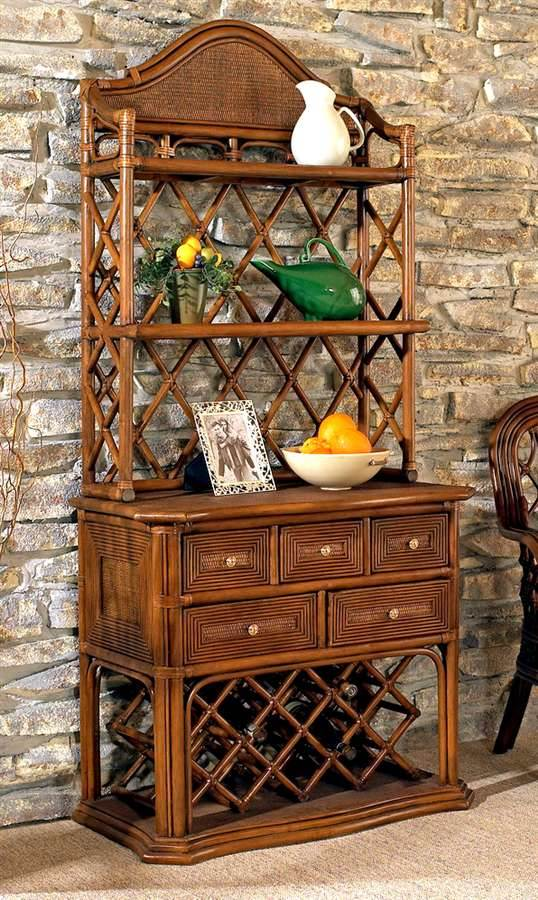 regency rattan bakers rack w wine rack in urban mahogany walmart com