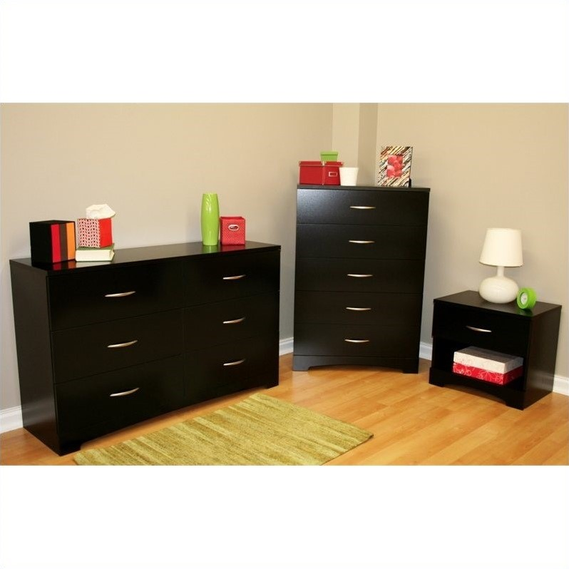south shore maddox dresser with chest and nightstand set in pure black walmart com