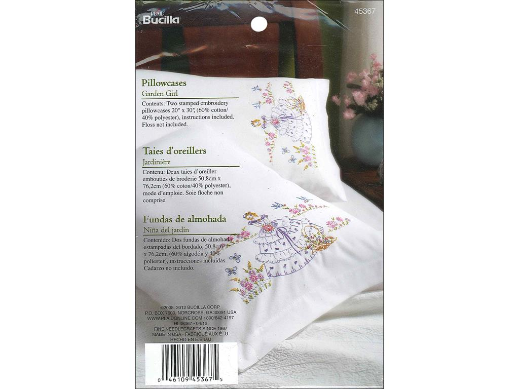 bucilla stamped pillowcase garden girl