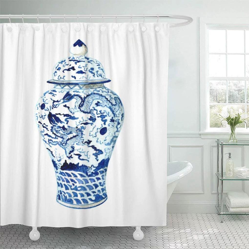 cynlon blue annechovie ginger jar no anne harwell white chinoiserie bathroom decor bath shower curtain 66x72 inch walmart com