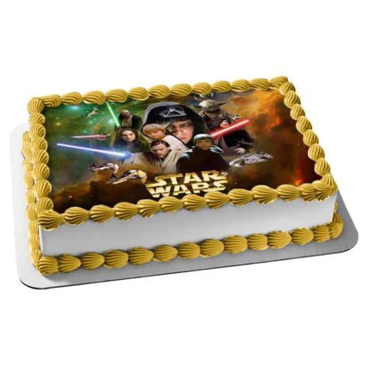 Star Wars Yoda Luke Skywalker Obi Wan Kenobi Starships Lightsabers Edible Cake Topper Image Walmart Com Walmart Com
