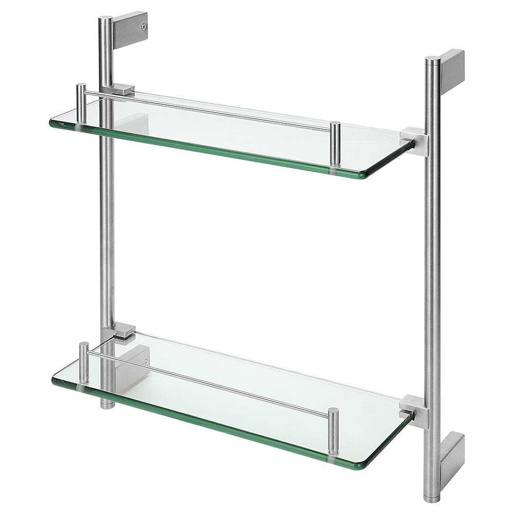 double tempered glass bathroom shelf wall mounted shower storage 304 stainless steel rail