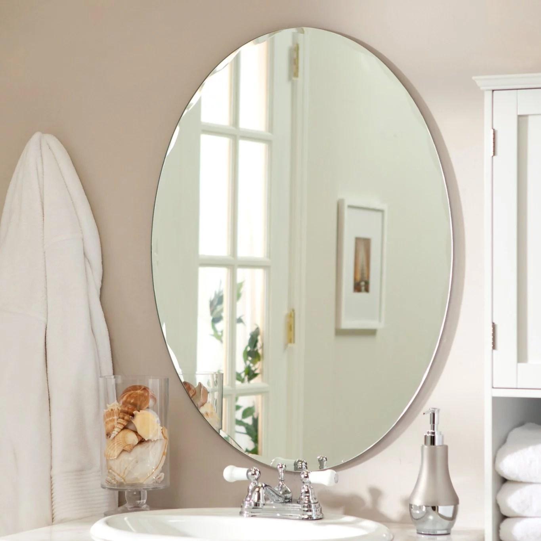 Medium 22 X 28 Oval Beveled Odelia Frameless Wall Mirror By Decor Wonderland Walmart Com Walmart Com