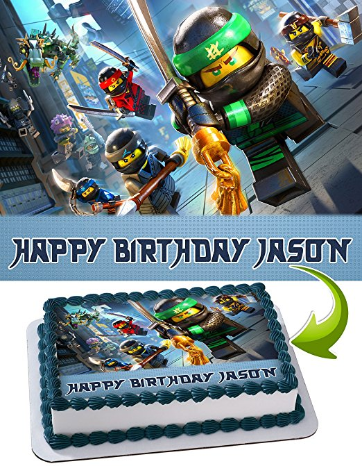 Lego Ninjago Personalized Cake Toppers Icing Sugar Paper A4 Sheet Edible Frosting Photo Birthday Cake Topper 1 4 Edible Cake Image Walmart Com Walmart Com