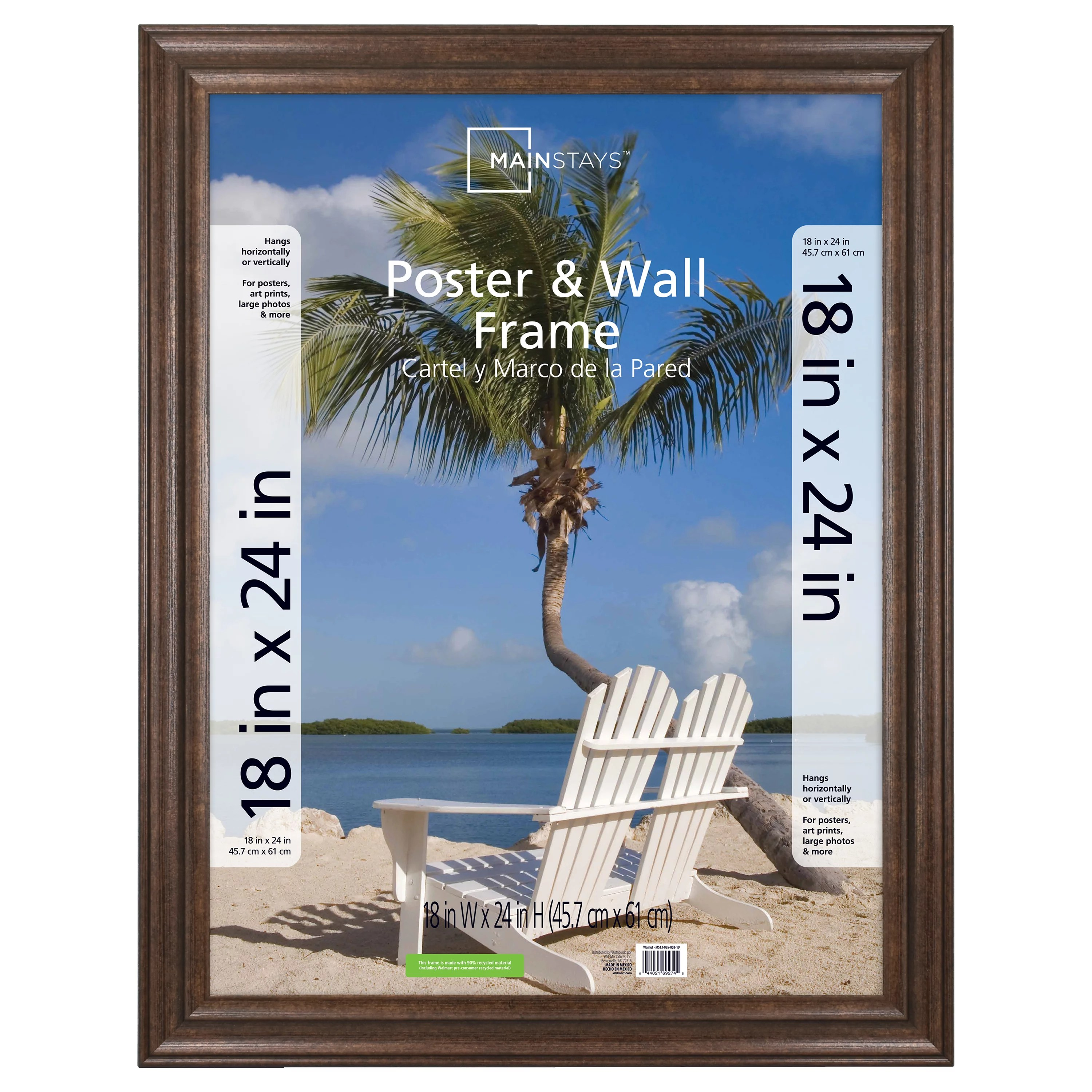 mainstays 24x36 wide walnut poster and picture frame