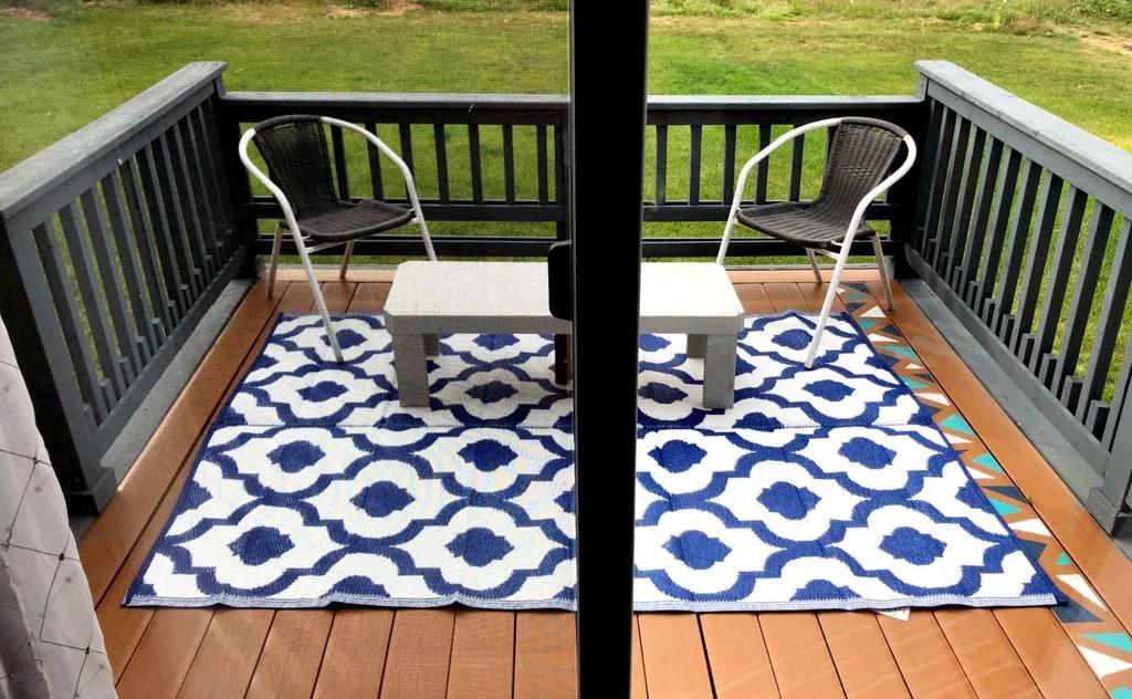 6 x9 indoor outdoor plastic straw patio rug rv mat camping reversible beach mat dark nv blue 20317