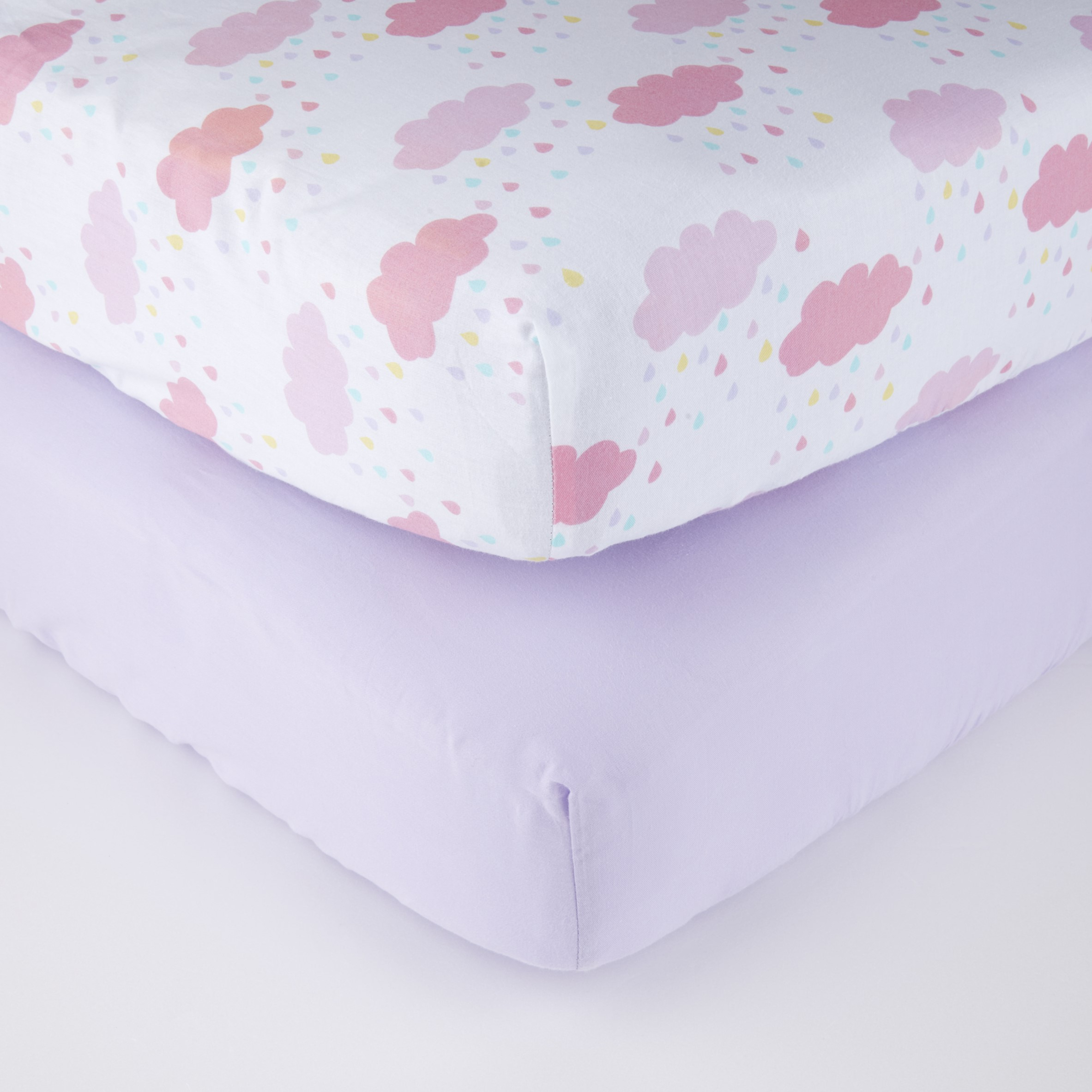 Parent's Choice 100% Cotton Fitted Crib Sheets, Rainbow Drops 2pk