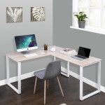 Enyopro L Shaped Computer Desk Industrial Office Corner Desk 58 Writing Study Table Wood Tabletop Home Gaming Desk With Metal Frame Large 2 Person Table For Home Office Workstation Oak B2249