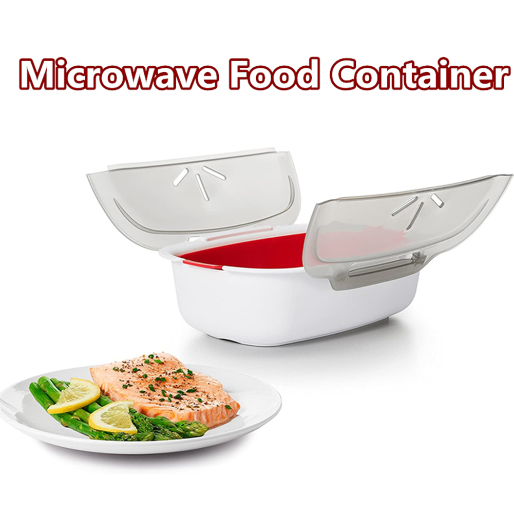 kitchen microwavable fish and veggie steamer steam vent vegetable steamer cooker with lid bpa free dishwasher safe