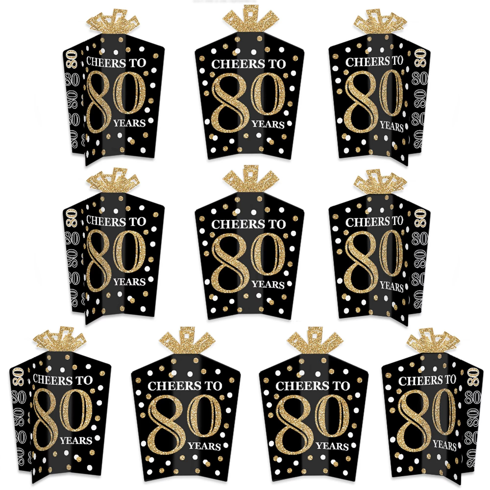 Adult 80th Birthday Gold Table Decorations Birthday Party Fold And Flare Centerpieces 10 Count Walmart Com Walmart Com