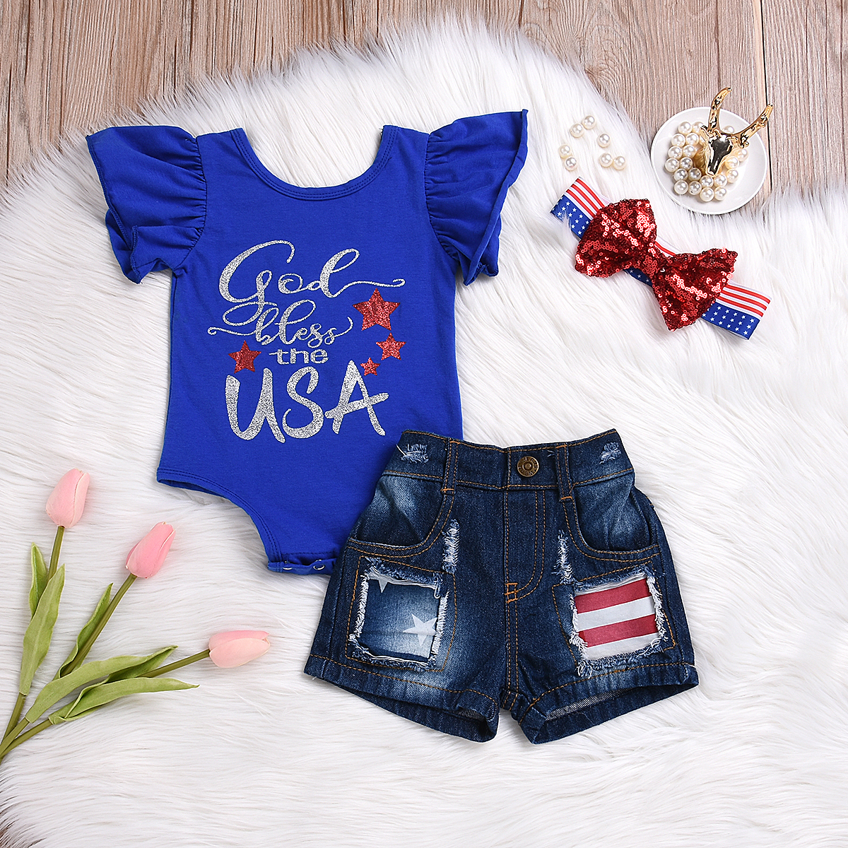 4th of July Clothes Newborn Kids Baby Girl USA Flag Romper+Ripped Short Jeans+Headband Outfits Set Clothes 0-6 Months