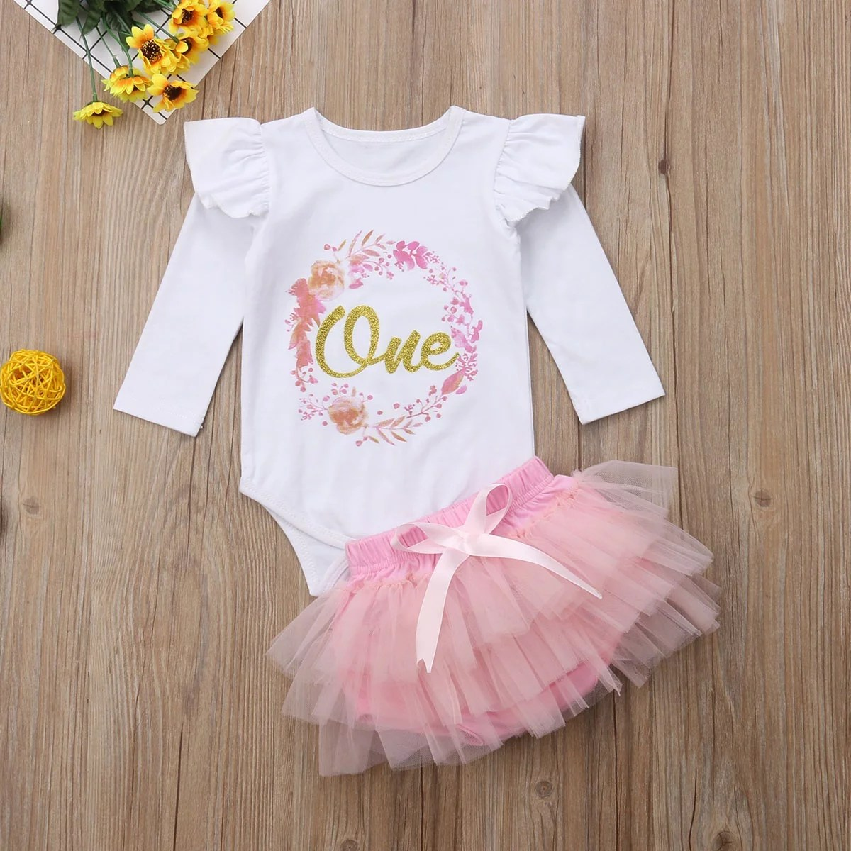 Baby Girl 1st Birthday Outfit One Year Party Cake Smash Tutu Skirt Clothes Set Walmart Canada