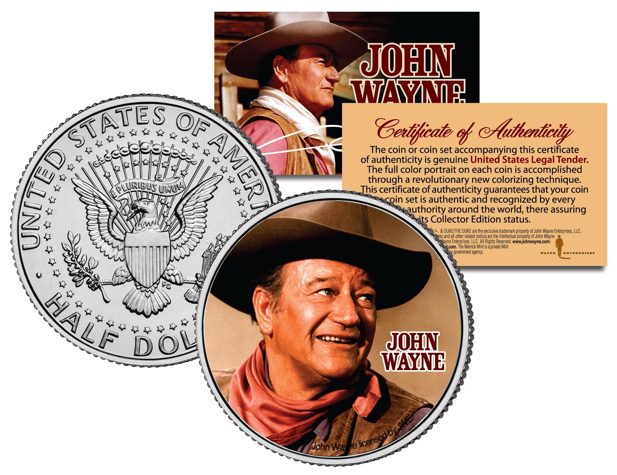 JOHN WAYNE – MOVIE *Chisum* JFK Kennedy Half Dollar US Colorized Coin *LICENSED*