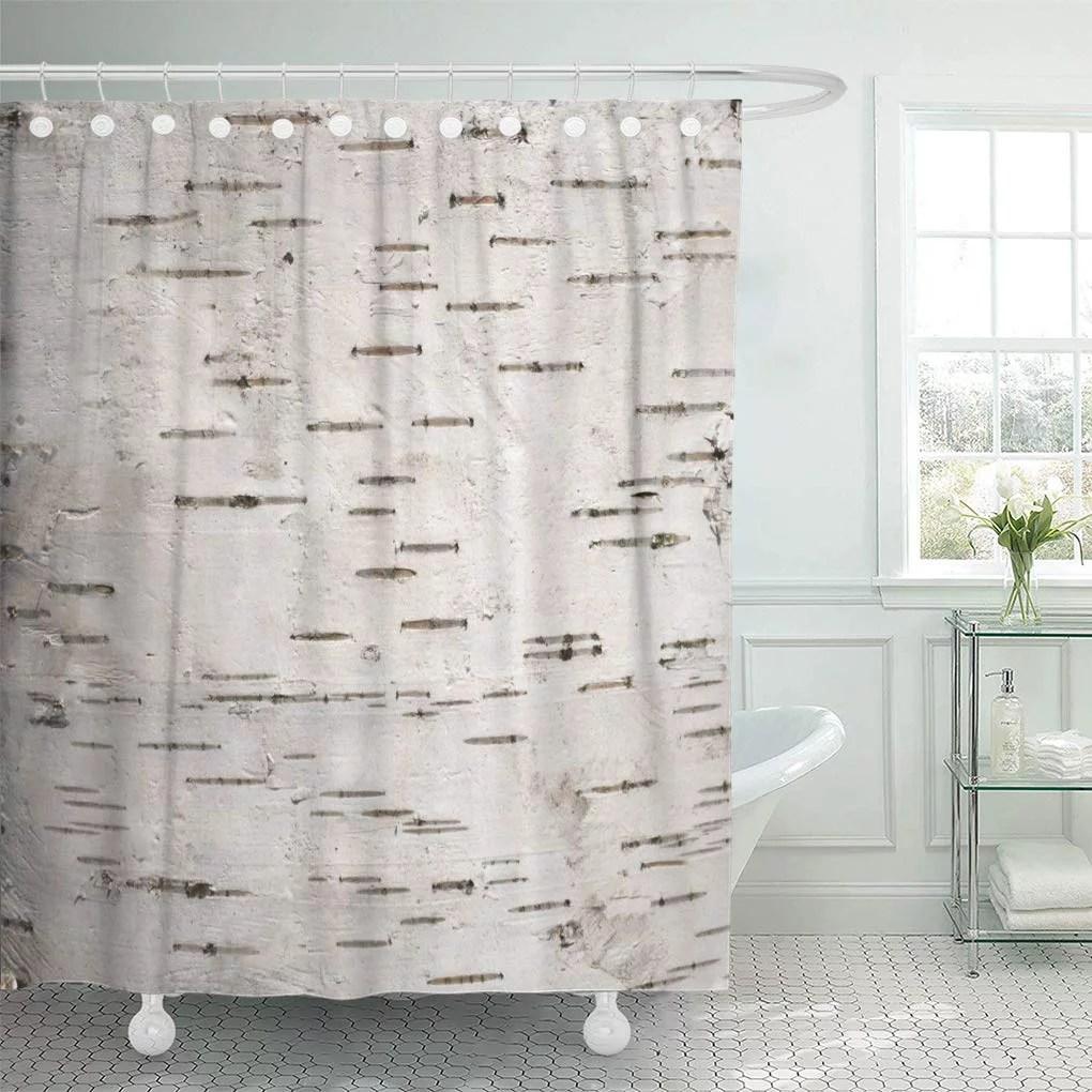 cynlon closeup white bark of the cortex tree birch wood bathroom decor bath shower curtain 66x72 inch
