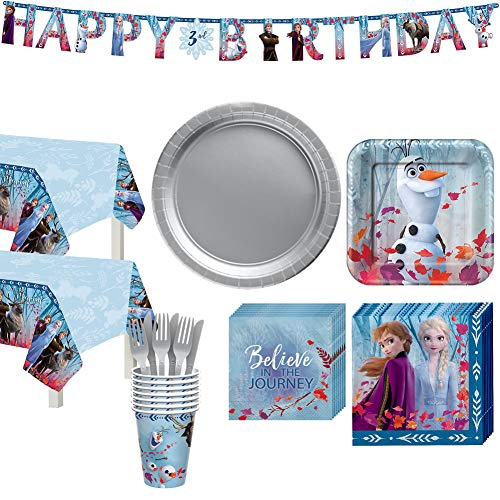Frozen 2 Basic Kids Birthday Party Supplies For 16 Guests Includes Napkins Plates Cover Cups And Banner Walmart Com Walmart Com